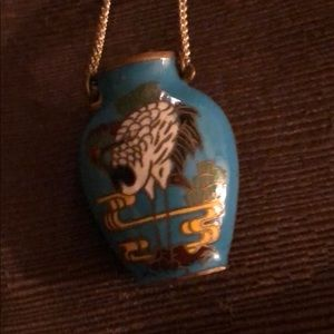 Brass & cloissone vintage pendant w/ chain